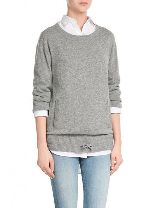 Crewneck Cashmere Pullover With Kangaroo Pocket