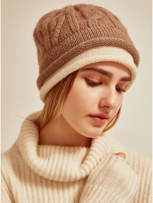 Double Brim Cashmere Cable Knit Beanie Cap