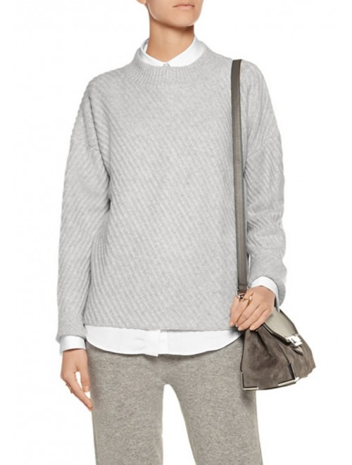 Grey Loose Knit Sweater For Lady