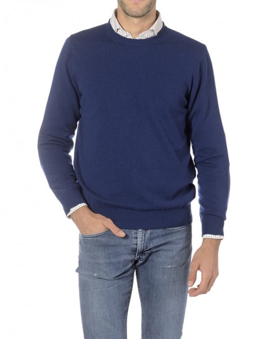 High Quality Plain Knitted Blue Cashmere Sweater Outlet