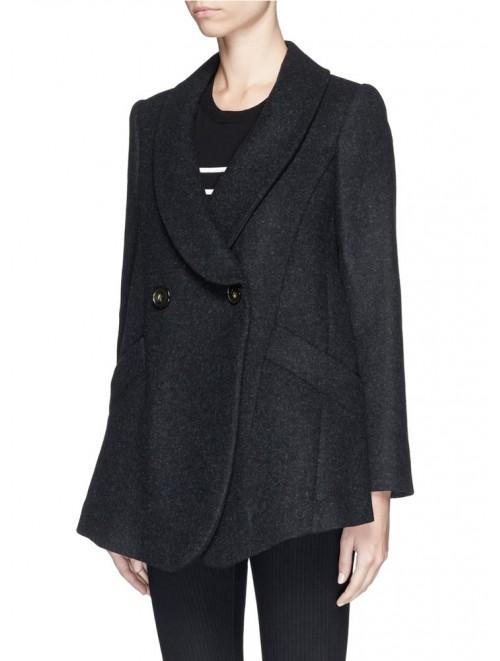 Korean Lady Black Winter Woolen Overcoat