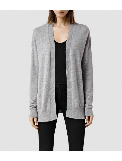 Lady Fashion Design Long Cashmere Open Front Cardigan