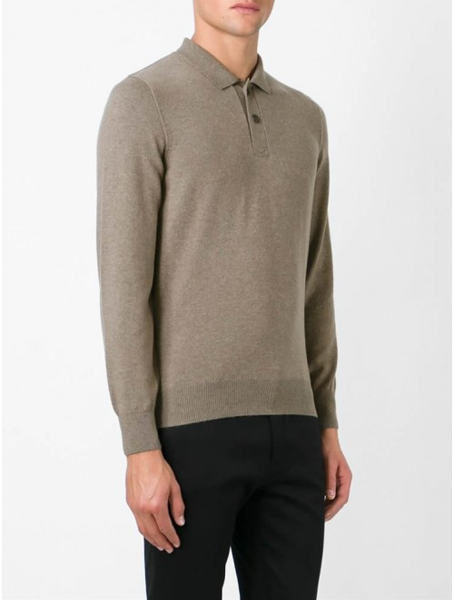 Men Long Sleeve Polo Neck Cashmere Sweater