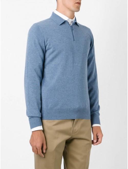 Men Polo Shirt Solid Color Zipper Sweater