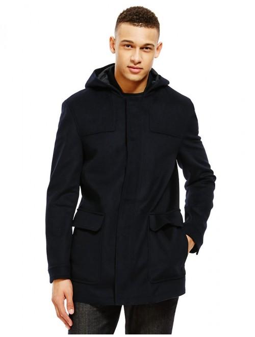 Men Stylish Mongolian Cashmere Coat With Hooded