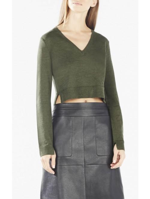 Merino Wool Customised V Neck Knit Sweater