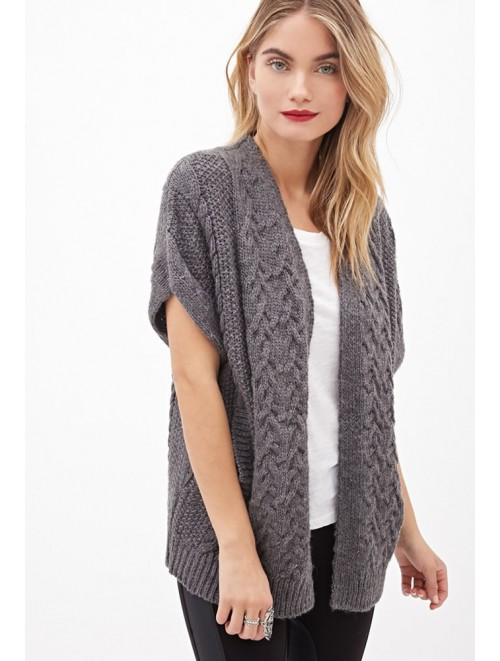 Rib Knit Short Sleeve Open Front Cardigan