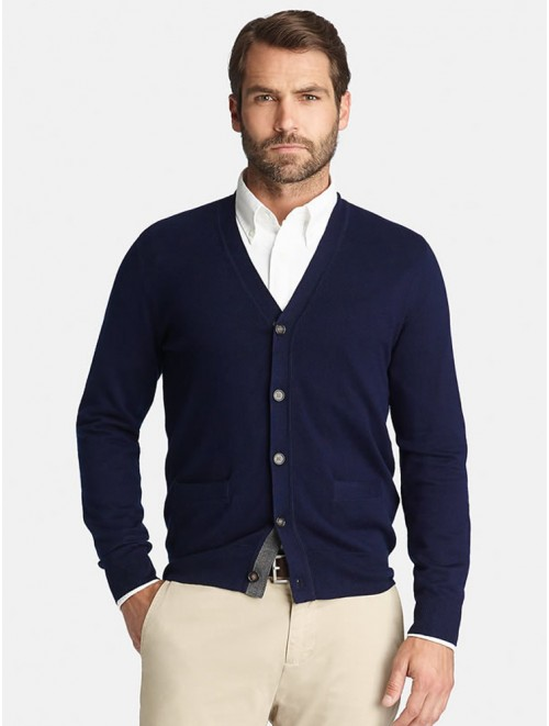 Top Rated Mongolian Navy Cashmere Cardiagn Sweater for Men