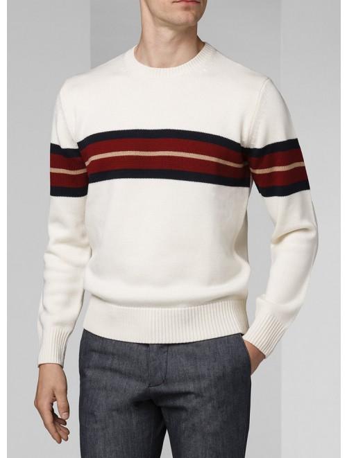 White 12GG Cashmere Pullover for Men