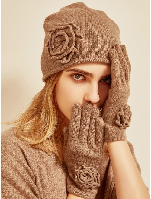 Women Cashmere Gloves and Hat Set with Knit Flower