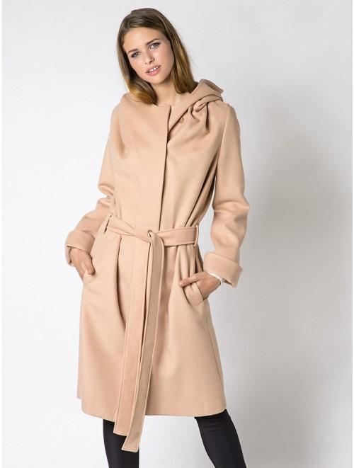 Womens Long Woolen Coat With Hood