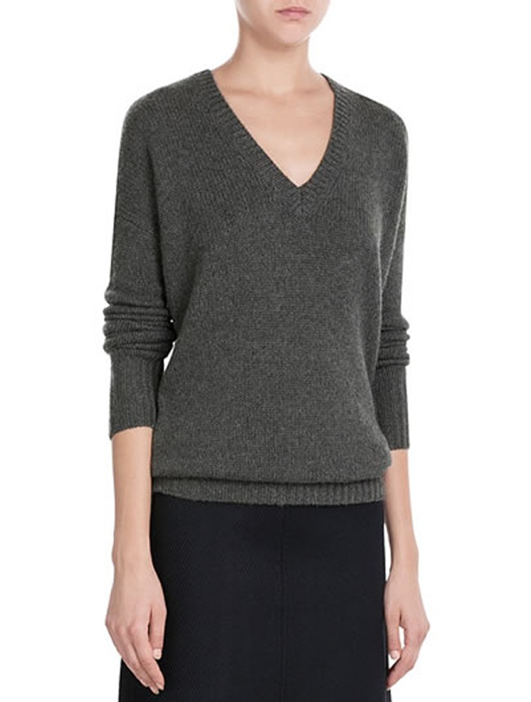 Cashmere V-Neck Textured Pullover Sweater