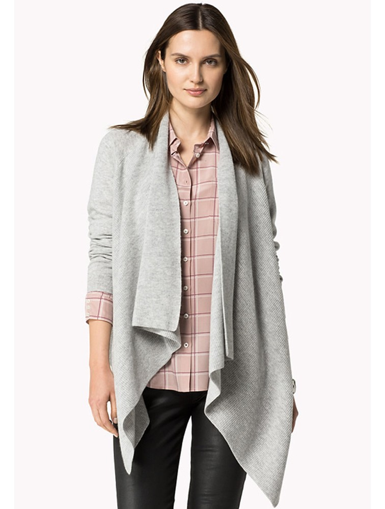 Cashmere Woman Long Tan Knitted Cardigan Poncho