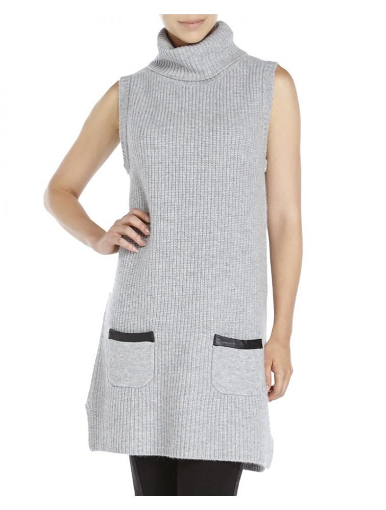 Fashion Women Sleeveless Turtleneck Long Sweater