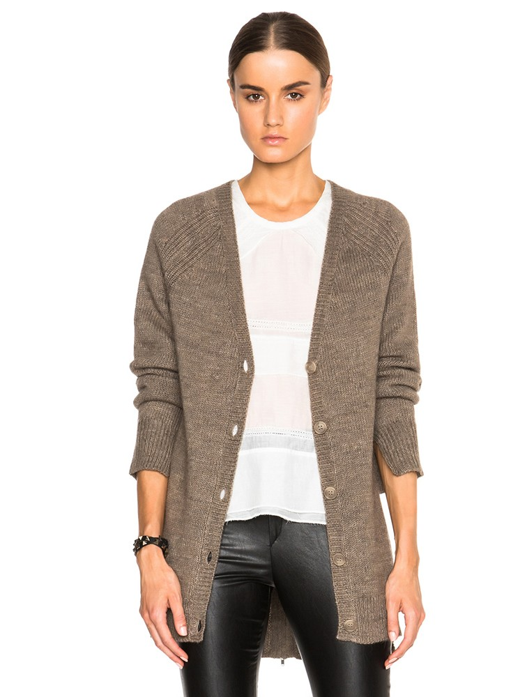 Lady Long Knitted 100% Cashmere Cardigan
