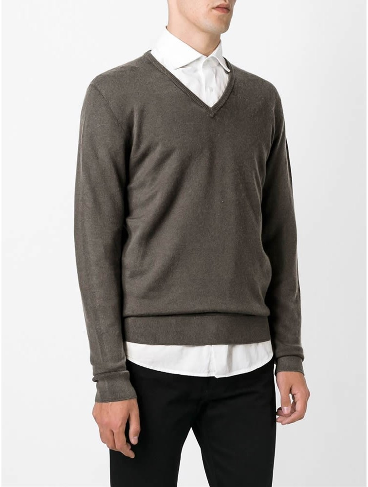 Men 100% Cashmere V Neck Pullover