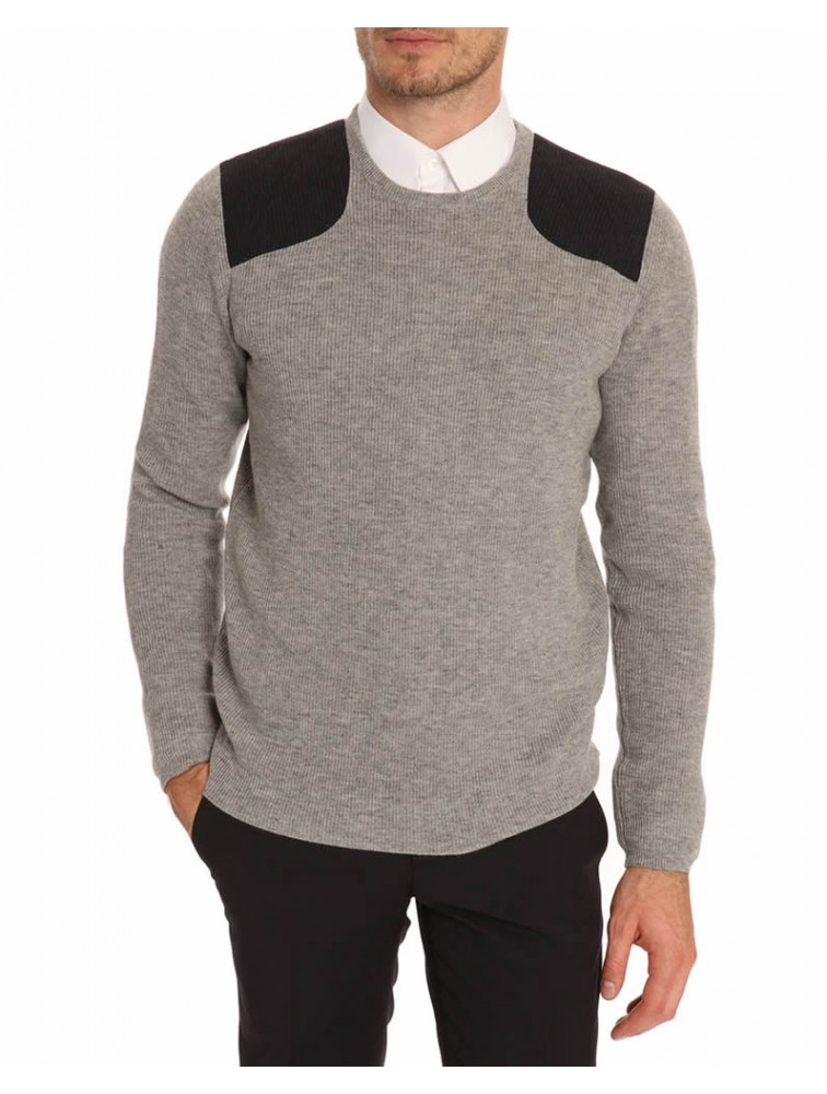 Men Cashmere Knit Pullover with Shoulder Pad