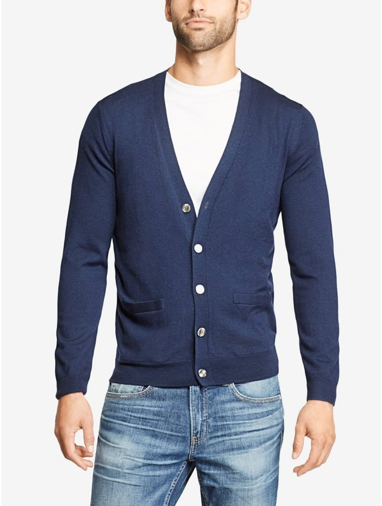 Men Casual V Neck Cashmere Cardigan Sweater