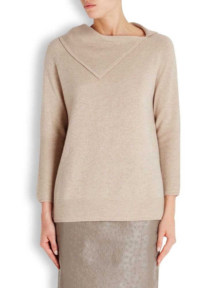 New Design Lady Cashmere Sweater Turn Down Collar
