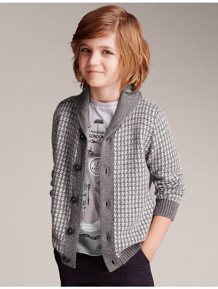 Boy Intarsia Cashmere Cardigan