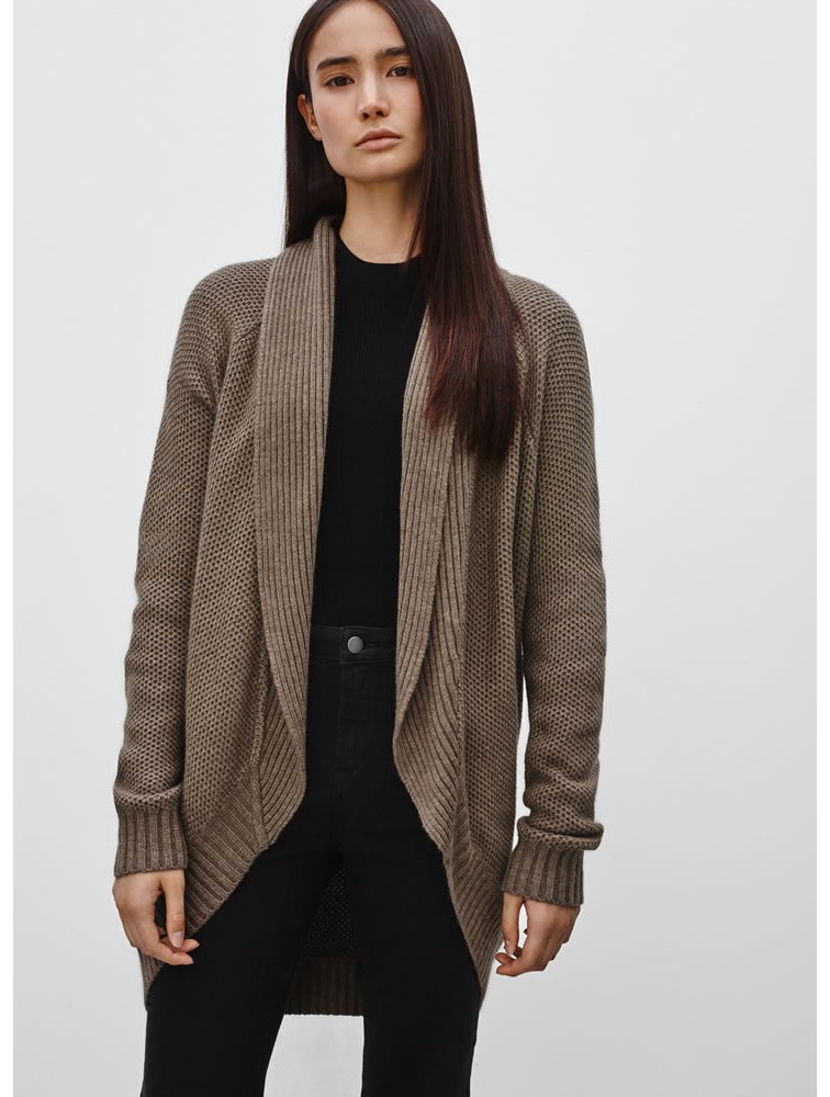 Shawl Collar Open Front Cashmere Cardigan