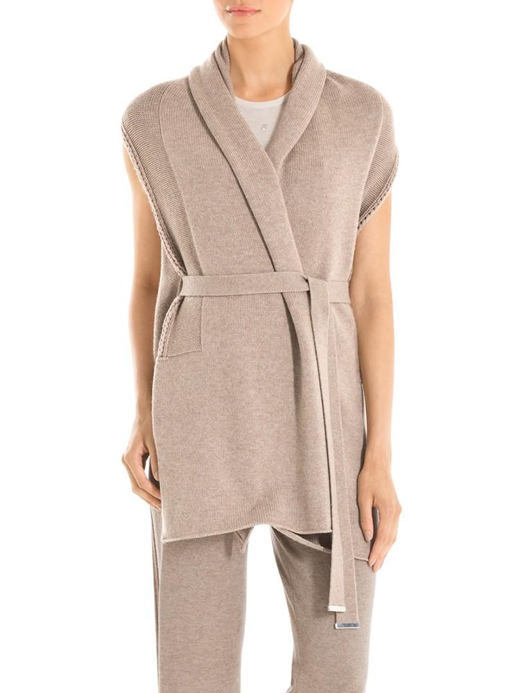 Sleeveless Knit Wool Cardigan Sweater