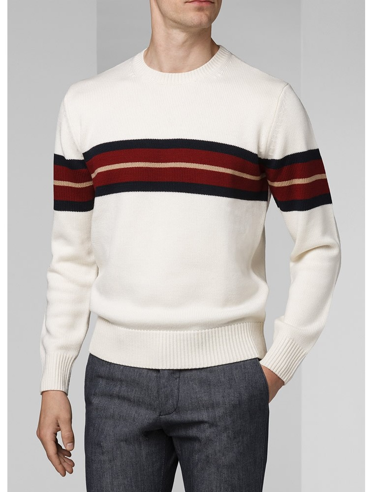 White 12GG Cashmere Pullover for Men
