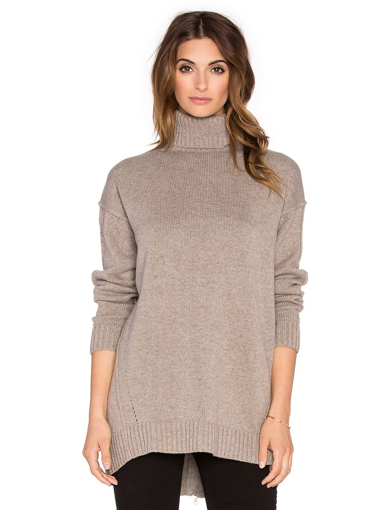 100% Cashmere Turtleneck Pullover With Back Zipper