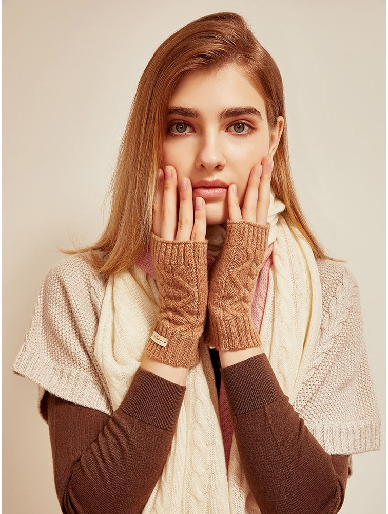 Solid Color Cable Knit Fingerless Cashmere Gloves