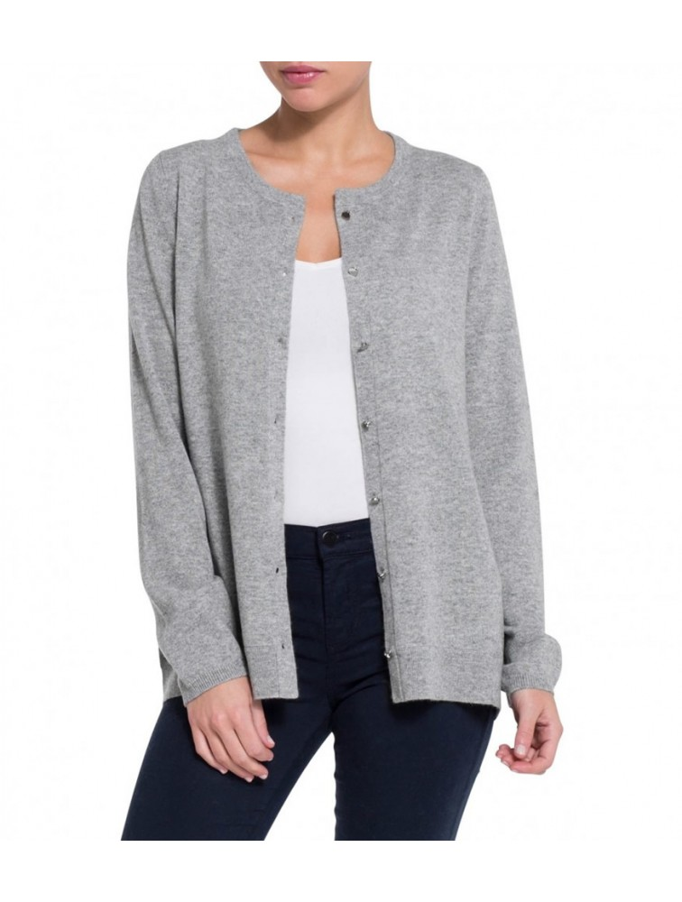 Cashmere Round Neck Cardigan Sweater