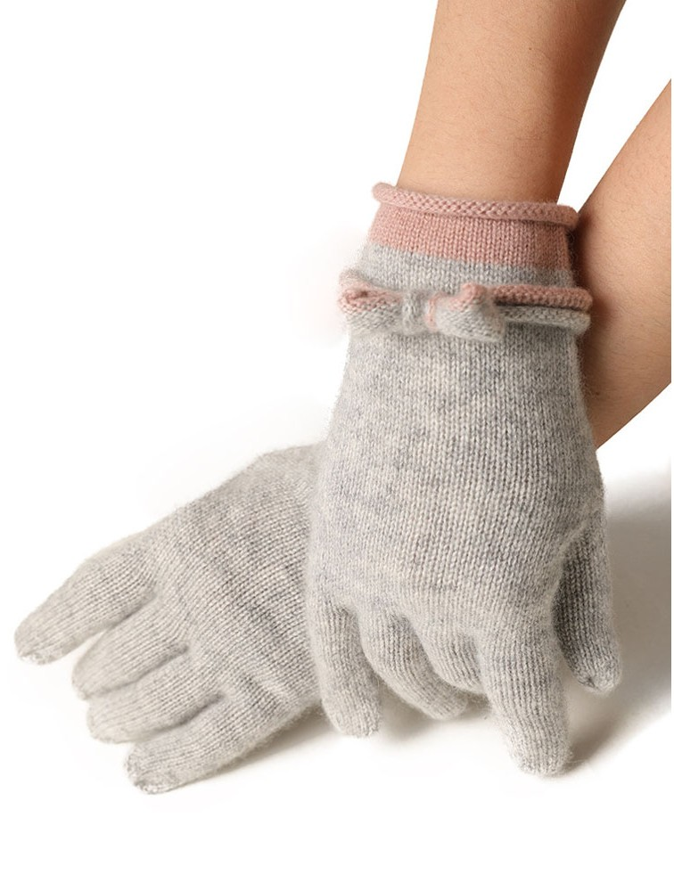 Girls' Fashion Cashmere Gloves with Bow