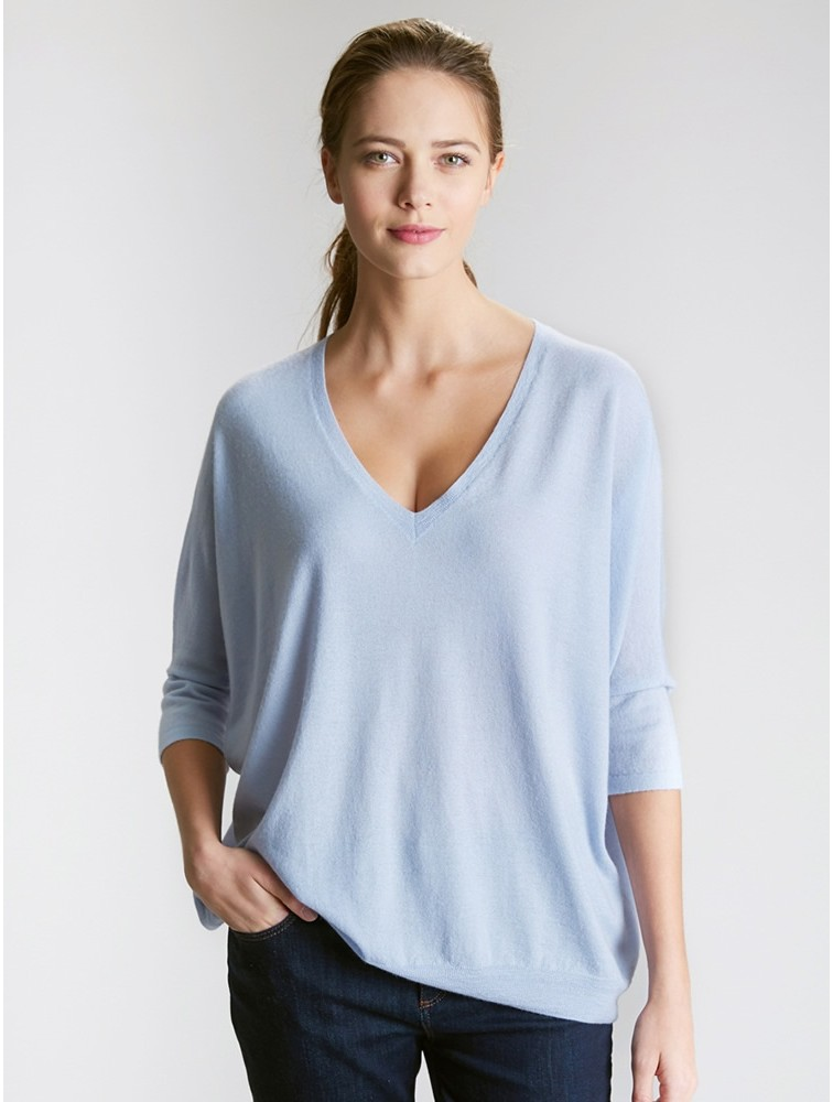 Half Sleeve V Neck Cashmere Loose Sweater