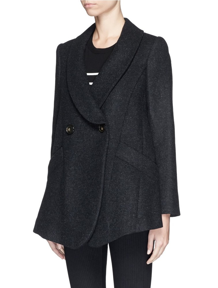 Korean Lady Black Winter Woolen Overcoat