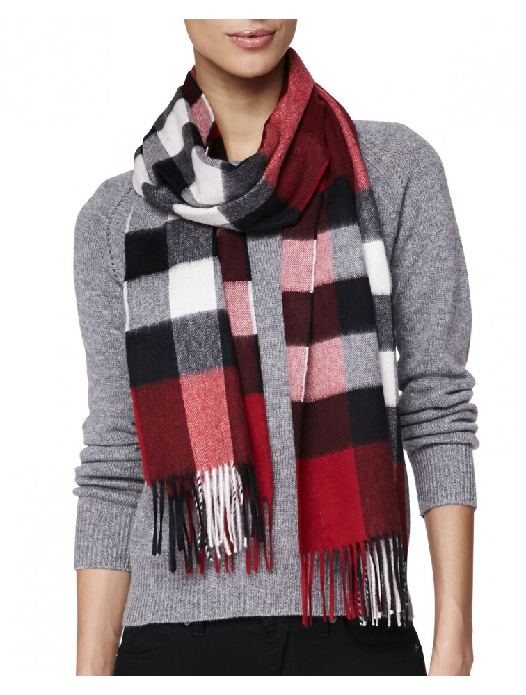 Plaid 100% Cashmere Scarf with Tassel