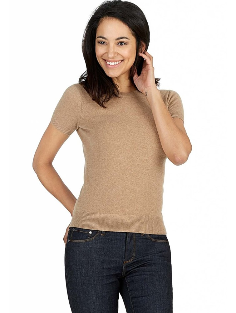 Pure Cashmere Knit Wool Short Sleeve Pullover