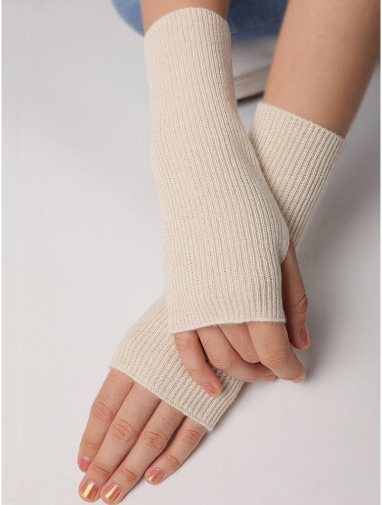 Solid Color Wristwarmers Cuffs Cashmere Fingerless Mittens