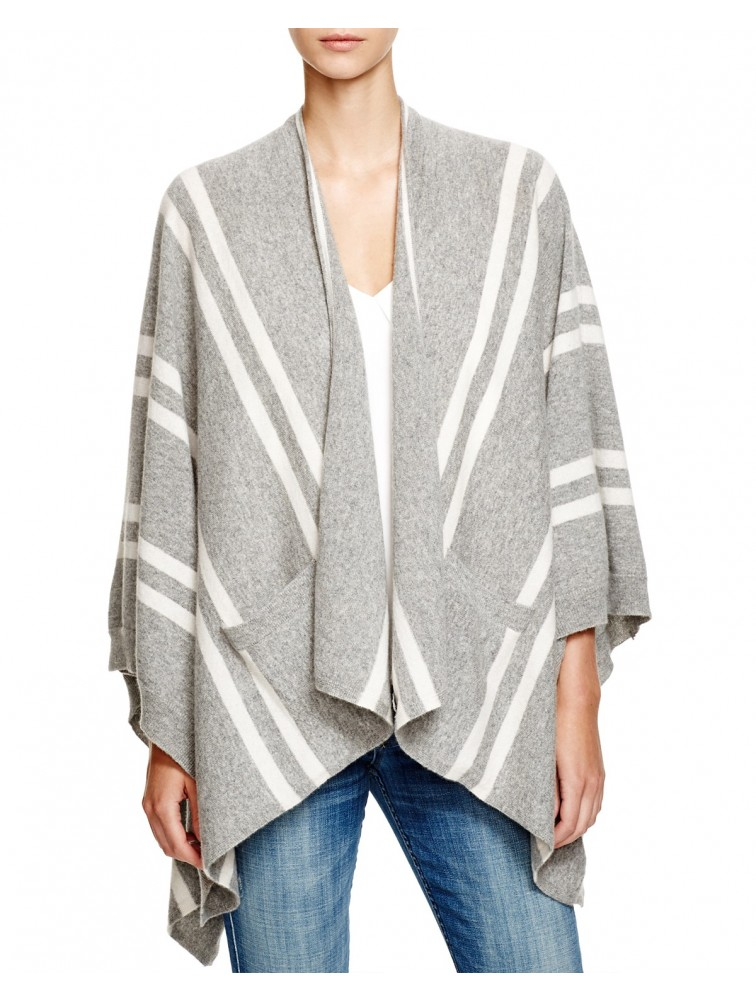 Stripe Oversize Open Front Cashmere Poncho