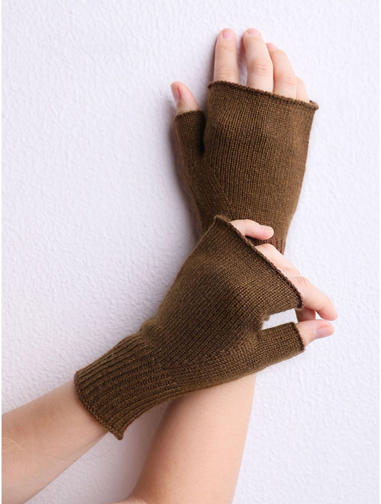 Unisex Short Cuff Plian Knit Cashmere Gloves Fingerless Mittens